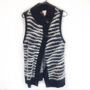Chico's zebra print furry vest!